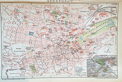 1897 STUTTGART DEUTSCHLAND alter Stadtplan Antique City Map Lithographie