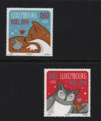 Christmas 2014 set of 2 mnh stamps Luxembourg fox rabbit owl mouse