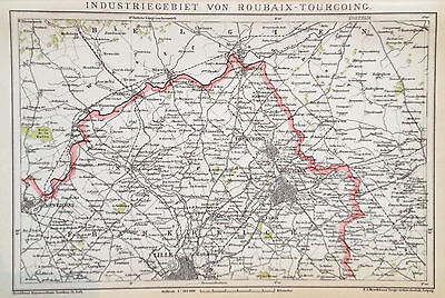 1897 INDUSTRIEGEBIET ROUBAIX-TOURCOING  alte Landkarte antique map Lithographie