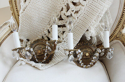 Gorgeous Pair Antique Brass & Crystal Prisms Wall Sconces