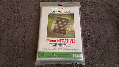 Clear File Archival Plus 35mm Photo Negative 24 = 6 strips of 4 Frames 100 Page