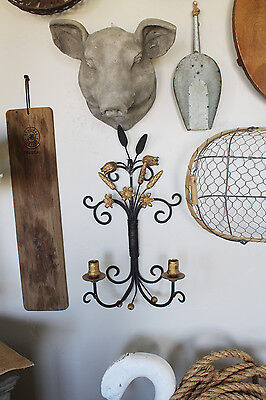 Antique Italian Gilt & Black Candle Wall Sconce Gorgeous