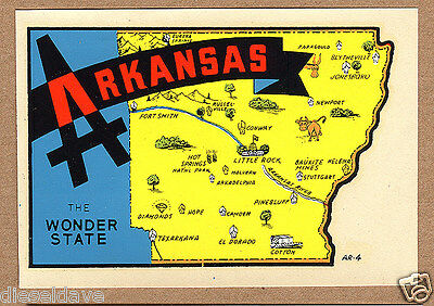 AR ARKANSAS 1940s-1960s STATE MAP Souvenir Luggage/Travel Decal VG+/EX Sharp!