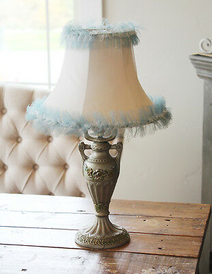 Antique Cast Iron Barbola Urn Lamp & Shade