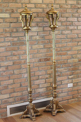 Antique Pair French Tole Wood Torchiere Floor Lamps