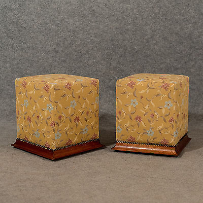 Antique Pair of Fireside Stools Footstools Pouffes Top Quality Upholstery c1900