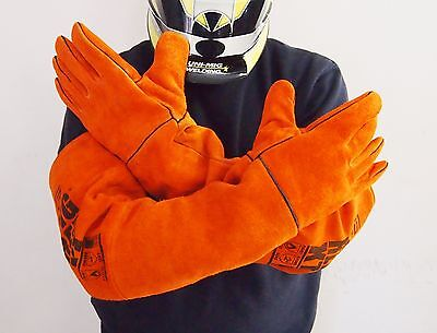EXTRA LONG Big Red Gloves Welding Gloves Extra Long Denim lined Leather Gloves