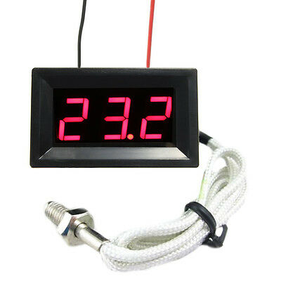 Red LED DC12V Digital Thermocouple Thermometer Temperature meter 0~999°C with Pr