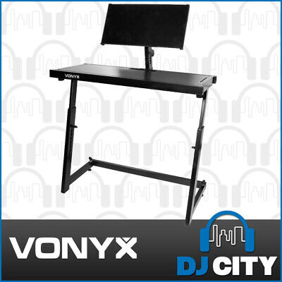 Vonyx DJ Stand Workbench Adjustable Mobile DJ Table with Laptop Shelf