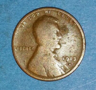 Circulated 1913 Denver Mint Lincoln Cent  ID #9-9