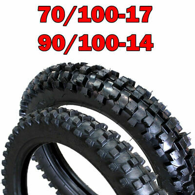 """70/100 - 17"""" Front + 90/100 - 14 """"inch Rear Tyre Tire + Tube PIT PRO Dirt bike"""