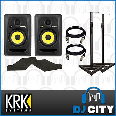 KRK Rokit 5G3 Studio Monitor Pack With Stands + Monitor Foam + Cables