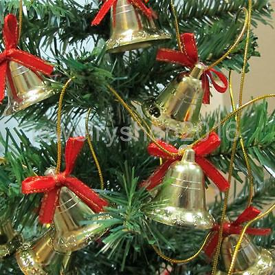 6pcs/Pack Gold Christmas Bell with Bow for Christmas Tree Trims Decorations