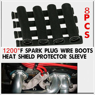 8pcs Spark Plug Wire Boot Heat Exhaust Protector Cover Thermo Shield Protection