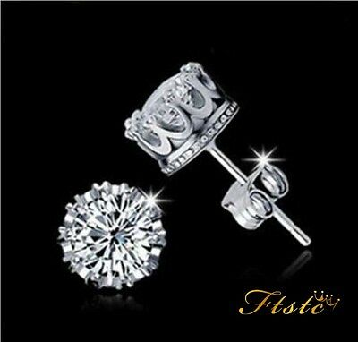 925 Sterling Silver CZ 8MM Crown Stud Earrings Round Crystal Cubic Zirconia UK