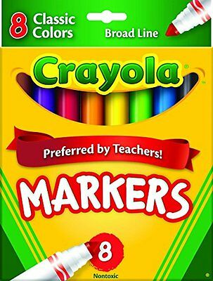 Crayola Non-Washable Markers, Broad Point, Classic Colors, 8