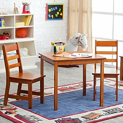 Lipper International Child Pecan Square Table and 2 Chair Se