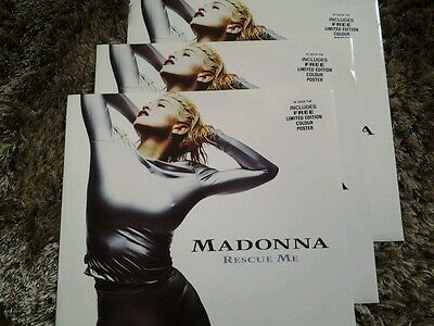 "Madonna Rescue Me 12"" vinyl + poster never played"