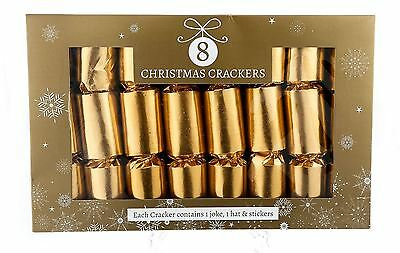 8 Pack Luxury Vintage Christmas Crackers Plain Metallic Gold Table Decoration
