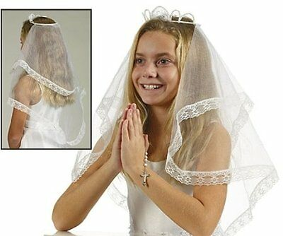 Girl's First Holy Communion Crown of Pearl Veil Catholic Rel