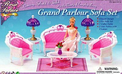 Barbie Size Dollhouse Furniture- Living Room Grand Parlour Sofa Set