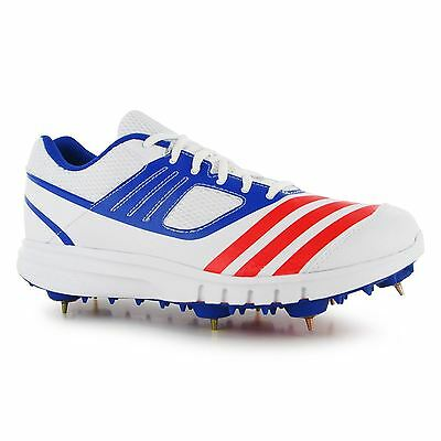 Adidas Howzat Spike Cricket Shoes Juniors Wht/Red/Blue Spikes Trainers Sneakers