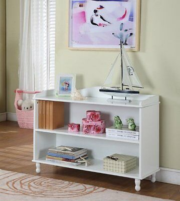 White Wood Finish 2 Tier Bookcase