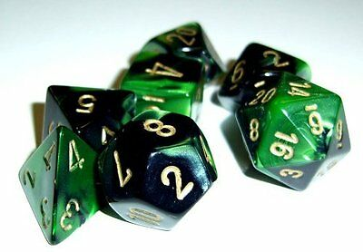 Chessex Dice: Polyhedral 7-Die Gemini Dice Set - Black & Green w/Gold