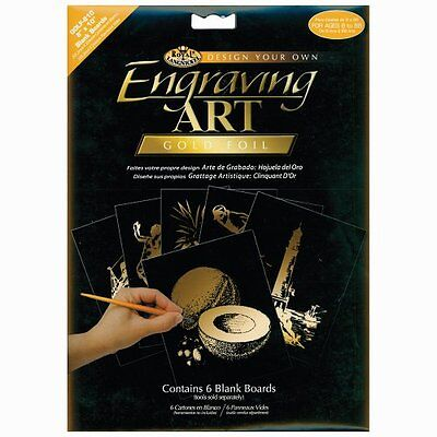 Royal Langnickel 8-Inch by 10-Inch Foil Engraving Art Blank Boards, Gold
