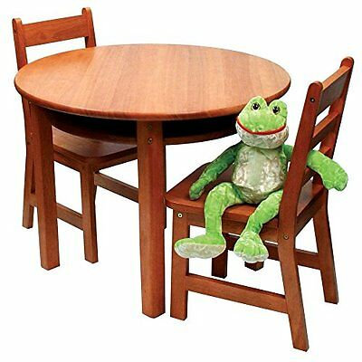 Lipper International Child's Round Table and Set of 2 Chairs, Pecan