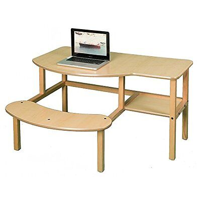 Childs Wooden Computer Desk for 1 - 2 Kids, Ages 5 - 10 - Maple