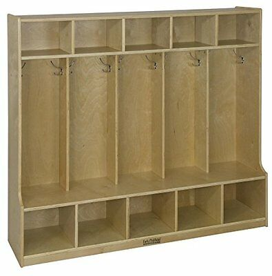 ECR4Kids Birch 5-Section Coat Locker with Bench, Natural