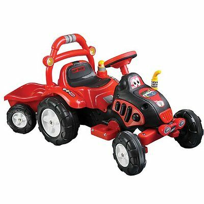 Lil' Rider Farm +=GT+-ún Fun Tractor And Trailer - Battery Powered - Red