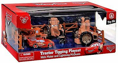 Disney Parks CARS LAND Tractor Tipping Playset with Mater and Lighting McQu