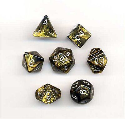 Chessex Dice: Polyhedral 7-Die Leaf Dice Set - Black Gold w/