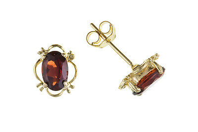Garnet Earrings Yellow Gold Stud Solid 9 Carat Oval Solitaire Studs Real Stone