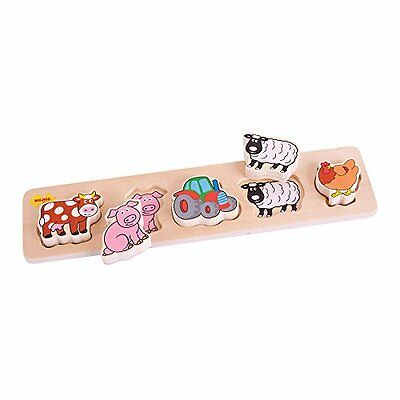 Bigjigs Toys BB014 Chunky Lift and Match Farm Puzzle