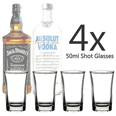 Set Of 4 X Glass Shot Glasses 50Ml Tequila Vodka Whisky Party Shooter Brand New