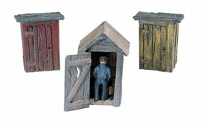 Woodland Scenics HO 3 Outhouses & Man WOOD214