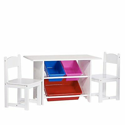 Sourcing Solutions Kids Table with 2 Chairs and 3 Plastic Storage Bins
