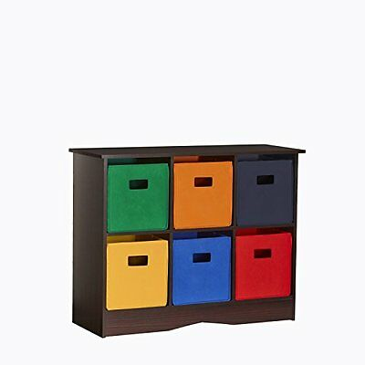 RiverRidge Kids 6 Bin Storage Cabinet, Espresso