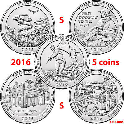 2016-S Five Coin Set Quarters Shawnee Cumberland Gap Harpers Theodore Moultrie