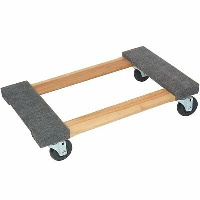 "Carpeted Wood Movers Dollie 18"" x 30"" Pine 300# Capacity"