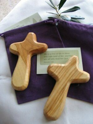 Two Olive Wood Holding Crosses With Velvet Gift Bags