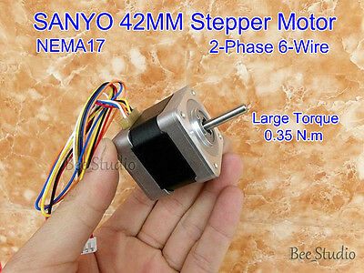 NEMA17 SANYO Stepping Motor 2-phase 6-wire 42MM Stepper Motor 1.8 Degree 0.35N.m