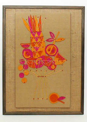 Vintage Tiki String Wall Art Felt Fruit Mid Century Orange