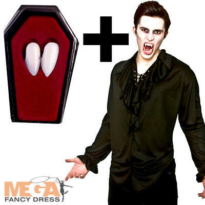 Black Vampire Shirt + Fangs Mens Fancy Dress Halloween Dracula Adults Costume