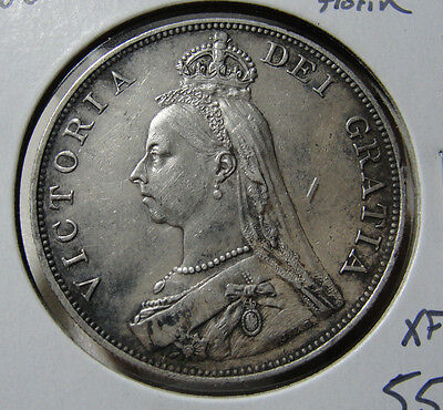1889 Great Britain Double Florin Extra Fine Coin VF