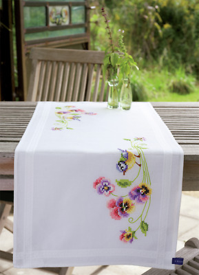 Vervaco Bird & Pansies Table Runner Embroidery Kit