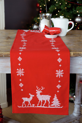 Vervaco Christmas Deer Table Runner Embroidery Kit